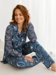 Принтованная женская пижама из хлопка: брюки и рубашка на пуговицах