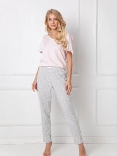 Хлопковая женская пижама с цветочными брюками и футболкой