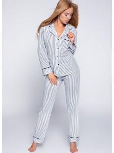 Женская хлопковая пижама в полоску с рубашкой и брюками Sensis ZARA