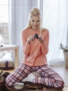 Хлопковая женская теплая пижама со штанами в клетку