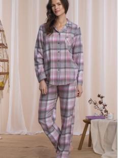Фланелевая брючная женская пижама из хлопка в клетку