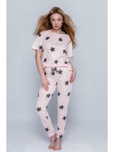 Женский пижамный комплект со штанами и футболкой с рисунком звезды