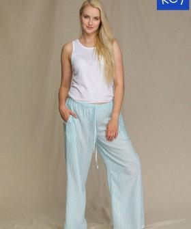 Женская летняя пижама с широкими брюками из вискозы