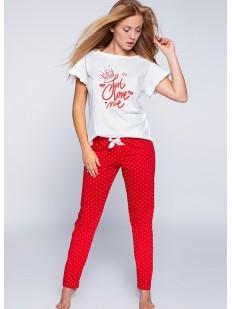 Женская хлопковая пижама с красными штанами в горошек Sensis MADDY