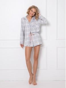 Женская фланелевая пижама в клетку: шорты и рубашка из хлопка