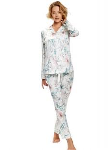 Женская атласная пижама с брюками и цветочным принтом