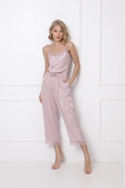 Атласная розовая пижама с укороченными брюками Aruelle LUCY - фото 1