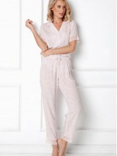 Светлая женская пижама с брюками и рубашкой из вискозы