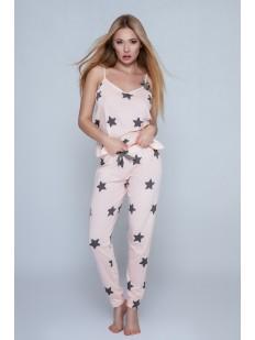 Женский пижамный комплект со штанами и топом с рисунком в звезды