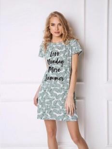 Короткая женская сорочка хлопковая с принтом ARUELLE Tropics