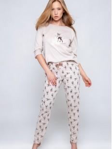 Женский пижамный комплект из хлопка с принтом оленей