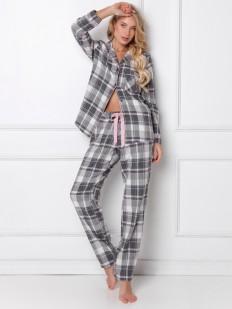 Хлопковая женская пижама в серую клетку: брюки и рубашка с длинным рукавом
