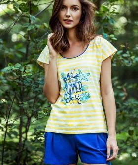 Летняя женская яркая пижама из хлопка в полоску