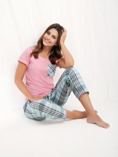 Женская хлопковая пижама с брюками в клетку