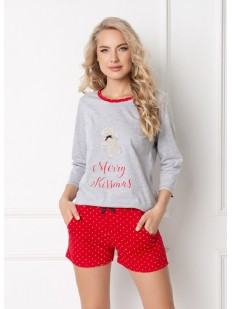 Женская хлопковая новогодняя пижама с шортами