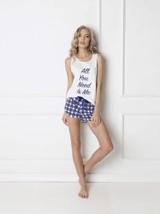Хлопковая женская пижама в клетку с шортами
