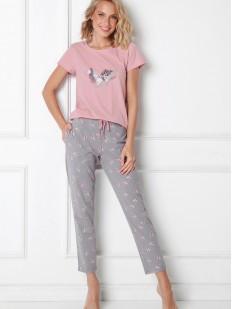 Женская хлопковая пижама со штанами и розовой футболкой