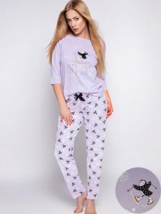 Сиреневая женская пижама с принтованными штанами и кофтой из хлопка