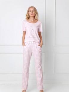 Женская розовая хлопковая пижама с брюками в клетку
