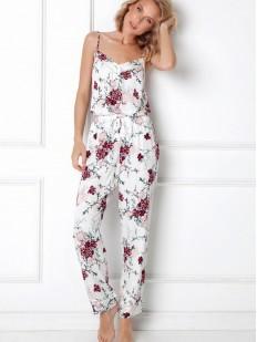 Цветочная белая пижама из вискозы: штаны и топ на тонких бретелях