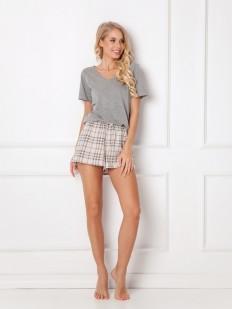 Женская летняя пижама из хлопка с шортами в клетку