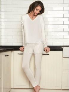 Женская трикотажная брючная пижама из вискозы с кружевом