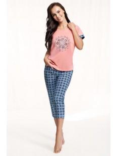 Женская принтованная пижама из хлопка с брюками капри