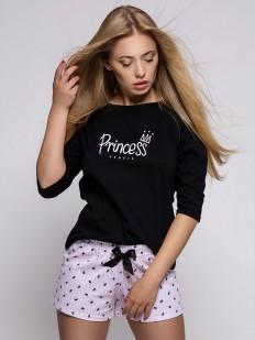 Хлопковая женская пижама с розовыми шортами и черной футболкой с рукавом 3/4