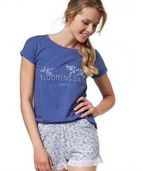 Женская хлопковая летняя пижама с шортами и футболкой