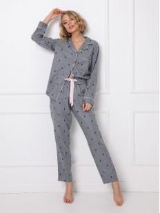 Хлопковая женская пижама рубашечного типа с принтом в виде елочек