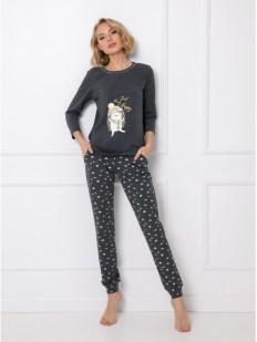 Трикотажная брючная женская пижама с принтом ежики