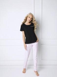 Хлопковая женская пижама в полоску с брюками ARUELLE Royal