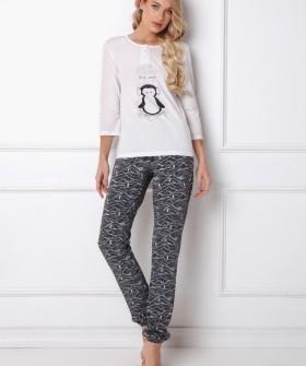 Женская хлопковая пижама со штанами и принтом пингвин
