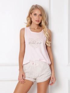 Женская летняя розовая пижама из хлопка с шортами