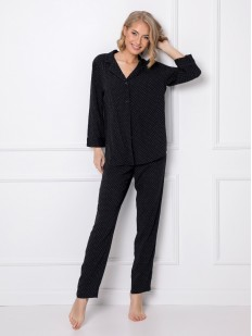 Женский пижамный комплект из вискозы: брюки и рубашка черного цвета
