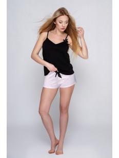 Женская летняя пижама с шортиками и черным топом на тонких бретелях