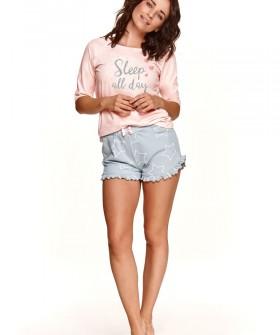 Пижамный женский комплект на лето: шорты со звездами и футболка 3/4
