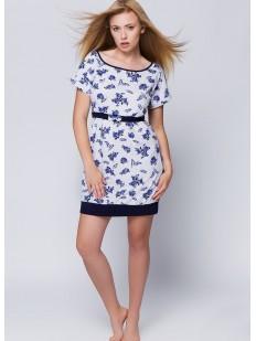 Женская домашняя ночная сорочка с цветочным рисунком и поясом