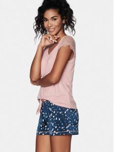 Летняя женская пижама с футболкой и принтованными шортами