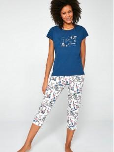 Хлопковая женская пижама 3 в 1: футболка с брюками и шортами