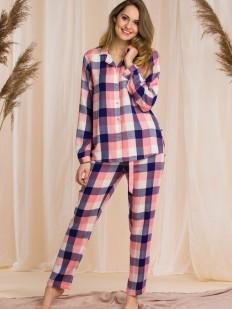 Женская пижама с начесом: брюки и рубашка в клетку