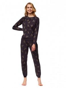 Хлопковая женская пижама со штанами и принтом олени ESOTIQ NOW
