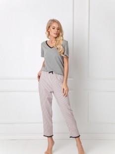 Хлопковая женская пижама со штанами в полоску