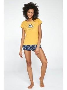 Летняя женская пижама из хлопка с принтом совы и луна