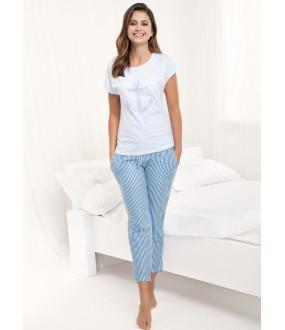 Женская хлопковая пижама с брюками в полоску