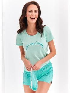 Женская хлопковая летняя пижама с шортами мятная