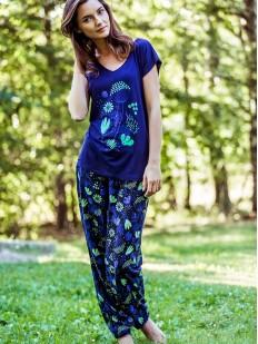 Яркая синяя пижама из вискозы с цветочным принтом KEY LHS