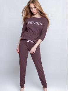 Женский пижамный комплект из хлопка: приталенные брюки и кофта