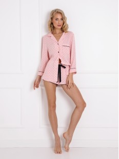 Розовая женская пижама из вискозы: рубашка и шорты с принтом в виде короны