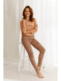 Женская хлопковая пижама с леопардовыми штанами